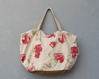 Floral Leather Bag, Boho Poppy Bag - upcycled Leather eco friendly