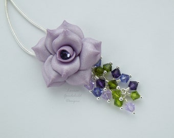 Lilac Rose pendant, silver necklace, waterfall pendant, cluster necklace, green and purple, rose necklace