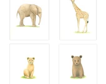 ANIMAL PRINTS Nursery Set of 4   Animal Art prints Nursery Art Baby Animal Prints Safari Art Baby Nursery Animal theme nursery baby boy art