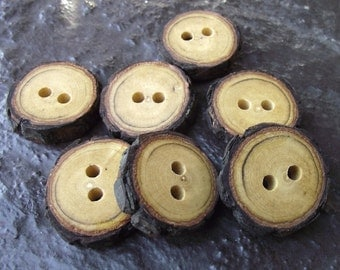 Wood Buttons - 7 Rustic Persimmon Wood Tree Branch Buttons with Bark - 2 holes, 1 to 1 1/8 inches - For journals, purses, pillows