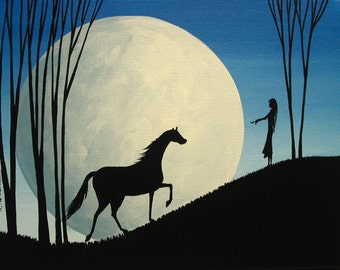 Original folk art painting silhouette girl woman full moon horse inspirational