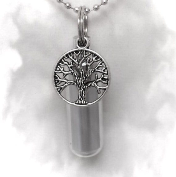 Wonderful Tree-Of-Life Personal CREMATION URN Keepsake with ENGRAVED Heart - Includes Velvet Pouch & Fill Kit
