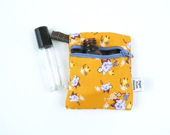 Mini Essential Oil Zippered Pouch - Bijoux - roller bottle case travel case essential oil storage IEM case, earbud  rollerball READY TO ship
