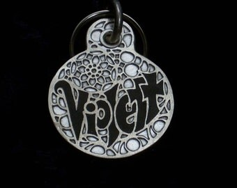 Sterling silver scrollwork pet tag, large