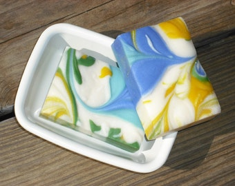 Blue Morning Glory Soap / Handmade Soap / Floral Scented Soap / Cold Process Soap