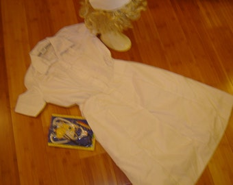 Vintage Nurse white dress hat womens 10 Halloween Costume