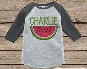 Watermelon Onepiece or Raglan - Custom Summer Outfit For Kids - Grey Baseball Tee or Onepiece - Fun Summer Outfit for Baby, Youth, Toddler