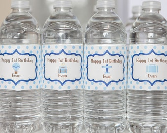 Vintage Travel Themed Water Bottle Labels - Blue Hot Air Balloon - Vintage Luggage Birthday Party Decorations - Boy Birthday Party (12)