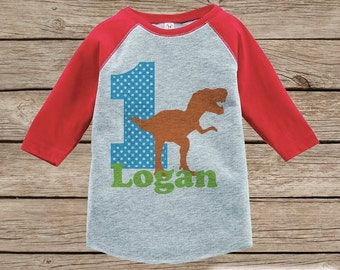 Boy's Birthday Outfit - Dinosaur Birthday Shirt - Onepiece or Tshirt - First Birthday Outfit - Red Raglan Birthday Shirt - Trex Birthday Top