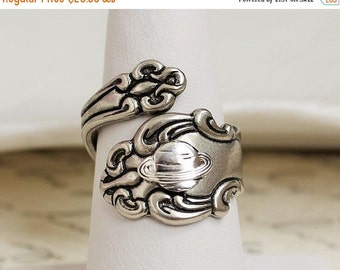 Saturn Spoon Ring. Space Jewelry