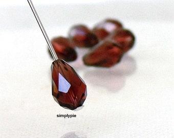 6 Burgundy Faceted Teardrop Swarovski Crystal Beads 9x6mm