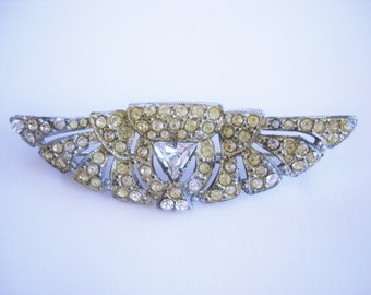 Clear Rhinestone Antique Brooch Silver Tone
