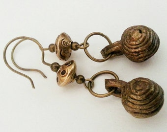 Tribal African Bells with spirals brass Boho Earrings ooak