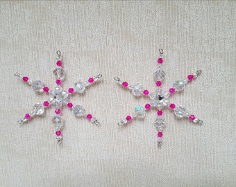 Two Hot Pink Glass Beaded Snowflake Christmas Tree Ornament Suncatchers