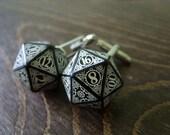 D20 steampunk dice cufflinks geek nerd rpg gamers wedding men accessories groomsmen gift for men black white dice dungeons and dragons