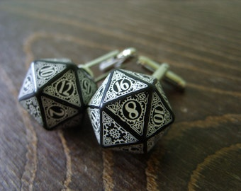 D20 steampunk dice cufflinks geek nerd rpg gamers wedding men accessories groomsmen gift for men black white dice dungeons and dragons
