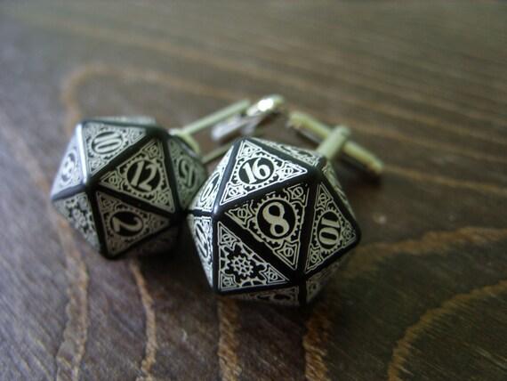 D20 steampunk dice cufflinks geek nerd rpg gamers wedding men for Dragon gifts for men