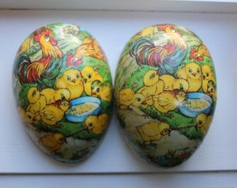 Papier Mache Easter Egg Western Germany Chicks Hen Rooster VINTAGE by Plantdreaming
