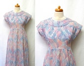 1930s / 40s Vintage Cotton Voile Dress / Red White Blue Geometric Sheer Dress