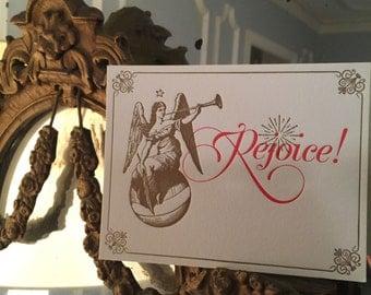 Rejoice Angel Letterpress Postcard