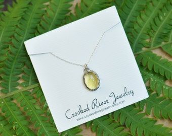 Yellow Calcite and Sterling Silver Pendant Necklace