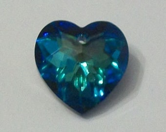 Clearance Sale -- 1 Swarovski Heart Pendant crystal bead 18mm HEART -- Bermuda Blue  style 6215