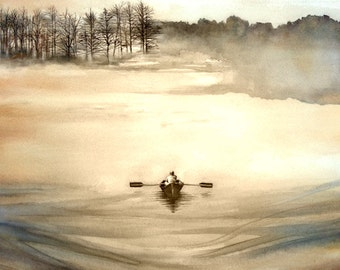 Original watercolor painting, Art, Maine on a Foggy Day,  36 X 25 inches, original art, watercolor art, Maine watercolor