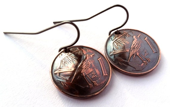 Cayman Islands Coin Earrings Bird Design Copper Colored Jewelry Woman Birthday Gift for Her Christmas Gift for Her