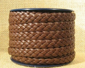 10mm Flat Braided Leather - Dark Brown