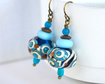 Modern Abstract Earrings, Glass Bead Earrings, Blue Earrings, Lampwork Glass Earrings, Artisan Earrings, Spotted Earrings