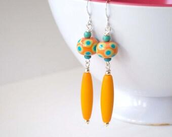 Long Orange Earrings, Lampwork Glass Earrings, Polka Dot Earrings, Glass Bead Earrings, Dangling Earrings, Bright Color Earrings