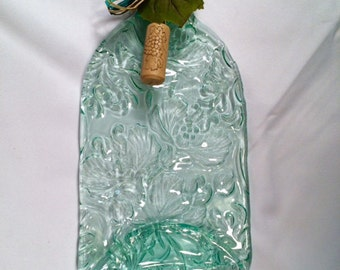 Large Aqua, Green or Olive Poppy Pattern Cheese Tray with Cheese Spreader from Slumped Bottle