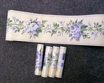 Vintage 5 Rolls French Toile Roses Wallpaper Border Eisenhart Retired Decorator Border
