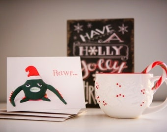 Set of 10 MyFriendMonster Christmas Cards