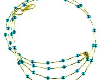 Turquoise pearl & metallic glass beaded break away ID lanyard necklace