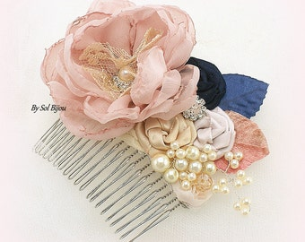 Hair Comb, Blush, Rose, Navy Blue, Gold, Tan, Blue, Fascinator, Elegant Wedding, Vintage Style, Bridal Crystals, Pearls, Lace, Brooch