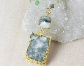 50% OFF Moss Druzy Necklace – Moss Agate – Green Chrysoprase Chain