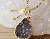 50 OFF Druzy Crystal Necklace with Wishbone Charm Pendant - Whimsical Jewelry - Charm Necklace