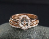 VALENTINES DAY SALE Morganite Engagement Ring – Miligrain Lear and Micro Pave Diamond Half Eternity Band – Set of Three