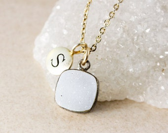 Grey/White Cushion Druzy Necklace – Choose Your Druzy and Initial Charm