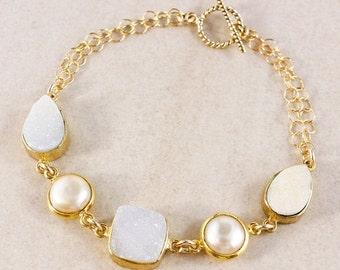 ON SALE White Druzy Bracelet – Button Freshwater Pearl – 14K Gold Filled