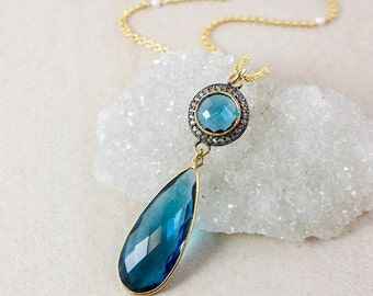25% OFF Blue Topaz Teardrop Necklace – Pave White Topaz – Freshwater Pearl Chain