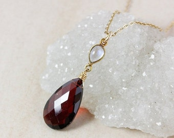 40 OFF SALE Rainbow Moonstone and Red Garnet Necklace – 14K Gold Filled Chain
