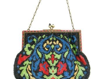 vintage  flapper bag   ...    glass beads  ...  vintage glam beaded purse   ...  enamel frame  …  art nouveau