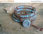 SALE Aquage Agate Beaded Leather Wrap Bracelet