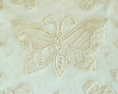 DOILY - Embroidered - Ireland - Irish - Butterfly - Shamrocks - Floral - Romantic - Celtic - Home Decor - Wedding Veil Supply - Cotton