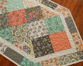 Quilted Table Runner with Flowers in Aqua Peach and Grey, Quilted Table Topper, Quilted Table Mat, Wildflowers Camelot Fabrics