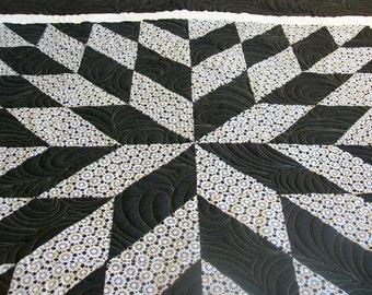 "Modern Quilt, Black and White, Starburst Quilt, 55"" x 63"", (139.7 cm x 160 cm) READY TO SHIP"