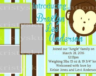Monkey Customizable Baby Shower Invite