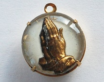 Vintage Antique Intaglio Glass Hands In Prayer Pendant Religious Jewelry 18mm White